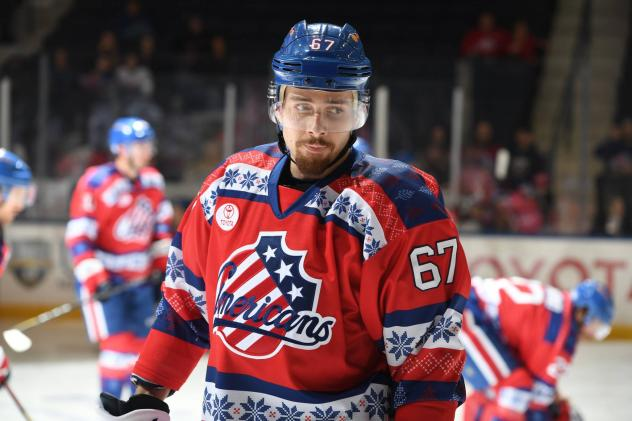 Forward Yannick Veilleux with the Rochester Americans