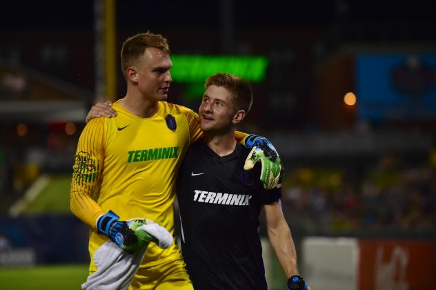 Memphis 901 FC Goalkeeper Cam Lindley and Jeff Caldwell