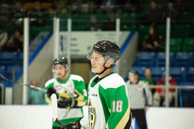 Forward Cohner Saleski with the Prince Albert Raiders