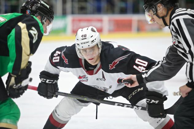 Vancouver Giants centre Milos Roman faces off with the Prince Albert Raiders