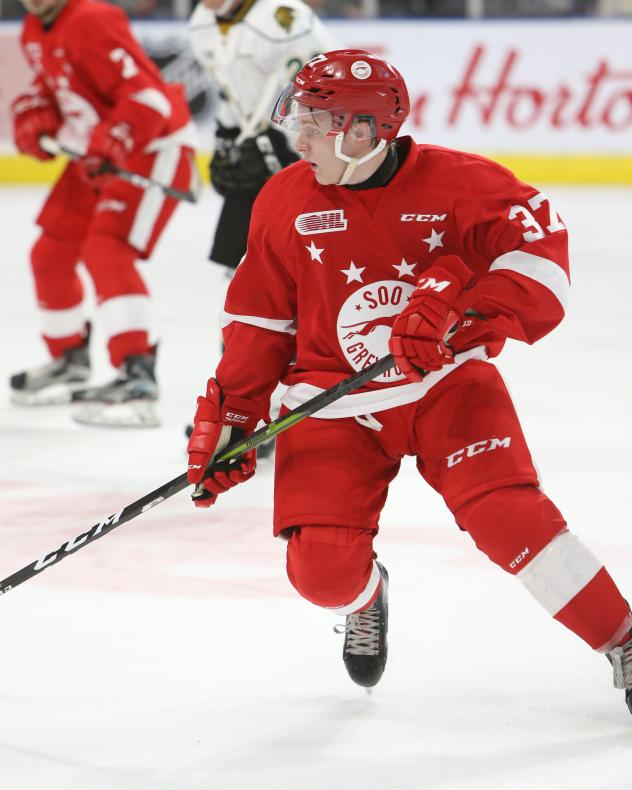 Forward Ryan Roth with the Sault Ste. Marie Greyhounds