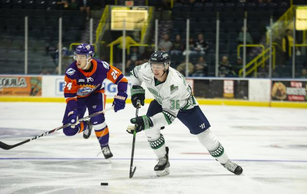 Florida Everblades left wing Tanner Jeannot vs. the Norfolk Admirals