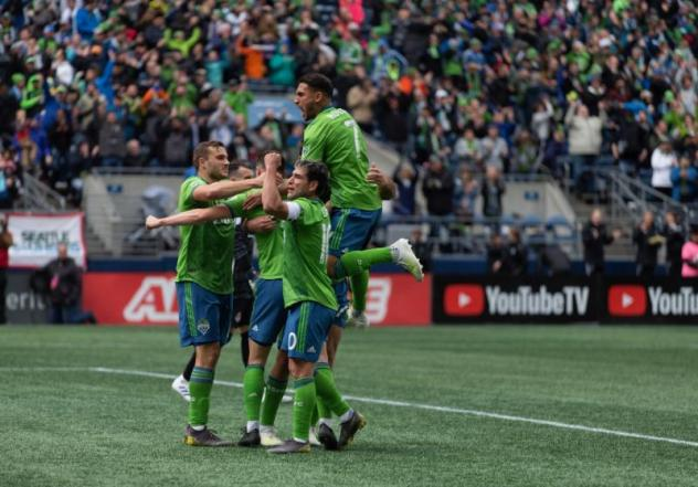Seattle Sounders FC celebrate a goal