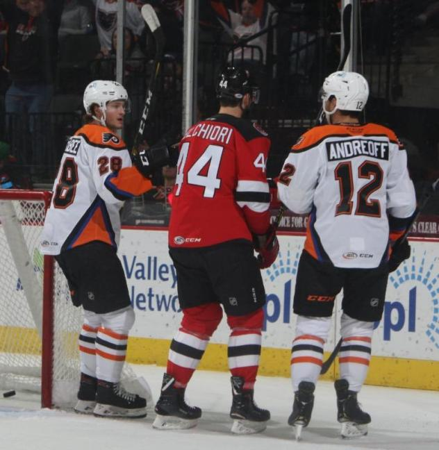 Joel Farabee (left) and Andy Andreoff (right) of the Lehigh Valley Phantoms vs. the Binghamton Devils
