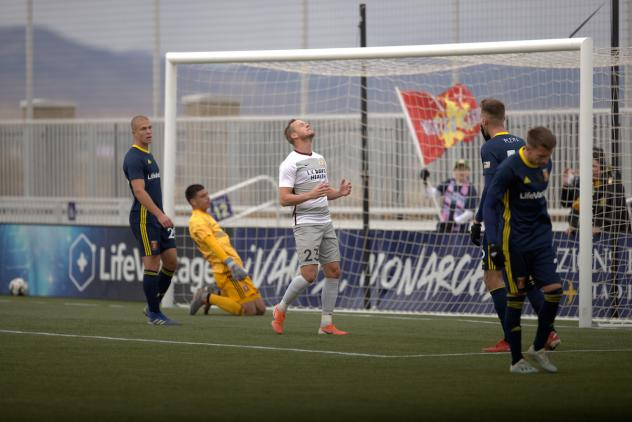 Sacramento Republic FC forward Thomas Enevoldsen rues a missed opportunity against Real Monarchs SLC