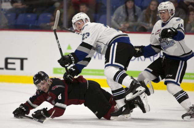 Vancouver Giants centre Tristen Nielsen hits the ice against the Victoria Royals