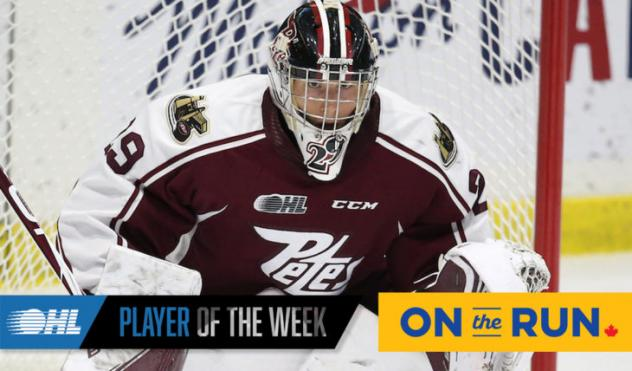 Peterborough Petes goaltender Hunter Jones