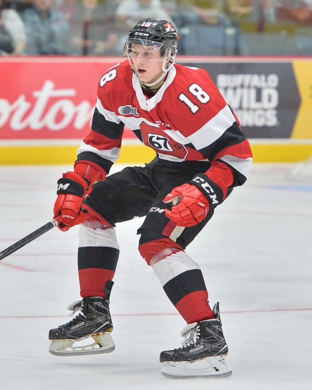 Defenceman Hudson Wilson with the Ottawa 67's