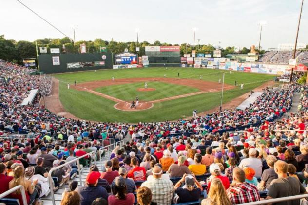 A crowd at Hadlock Field, home of the Portland Sea Dogs