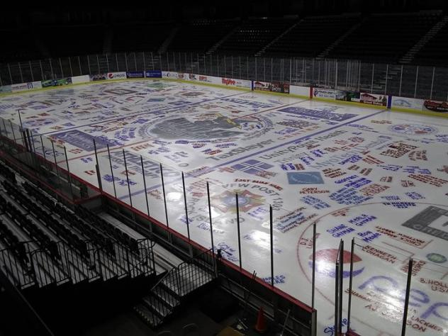 Quad City Storm Salute to Military Ice Painting