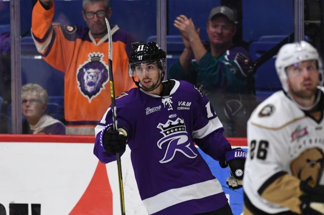 Matty Gaudreau of the Reading Royals following one of his goals against the Newfoundland Growlers