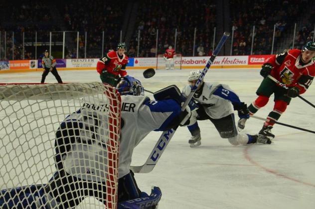 Saint John Sea Dogs goaltender Zachary Bouthillier defends against the Halifax Mooseheads