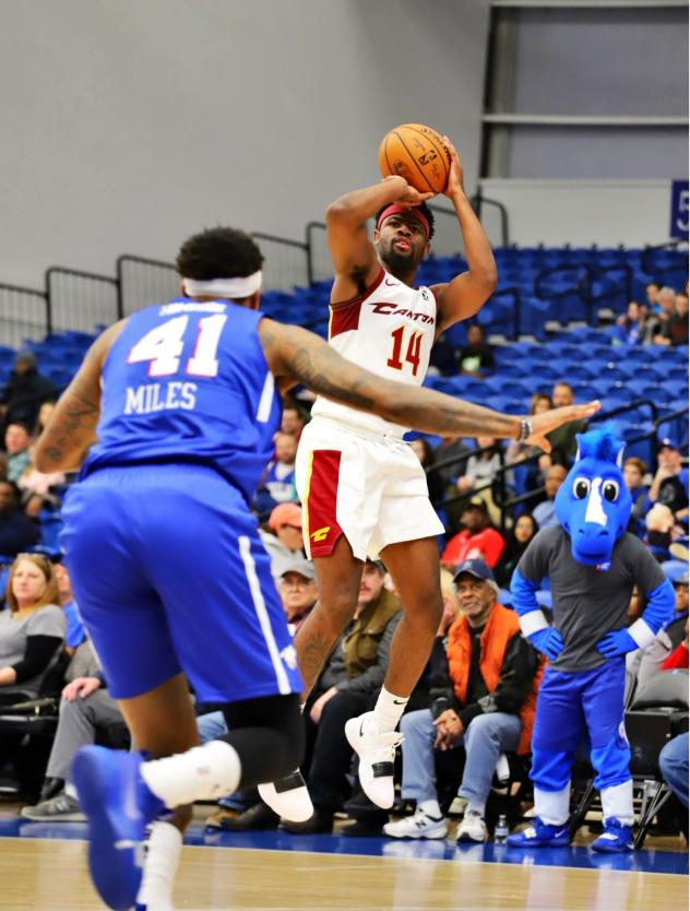 Malik Newman of the Canton Charge takes a shot against the Delaware Blue Coats