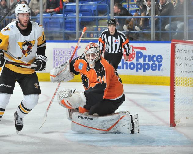 Lehigh Valley Phantoms goaltender Alex Lyon vs. the Wilkes-Barre/Scranton Penguins