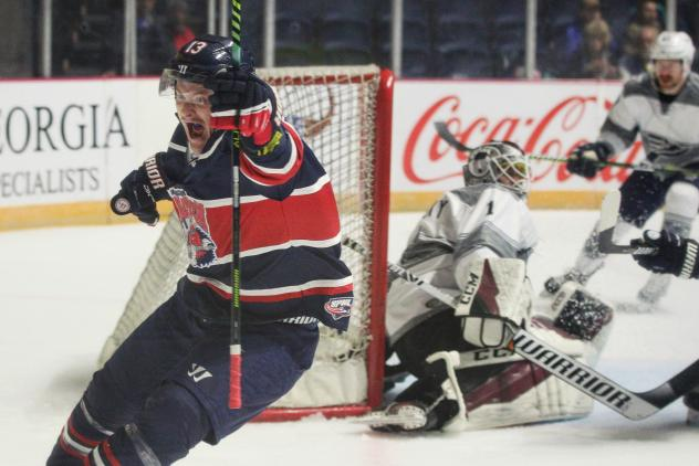 Jimmy Soper of the Macon Mayhem reacts after a goal against the Pensacola Ice Flyers