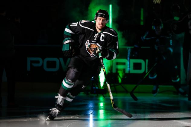 Utah Grizzlies defenseman Taylor Richart enters the ice