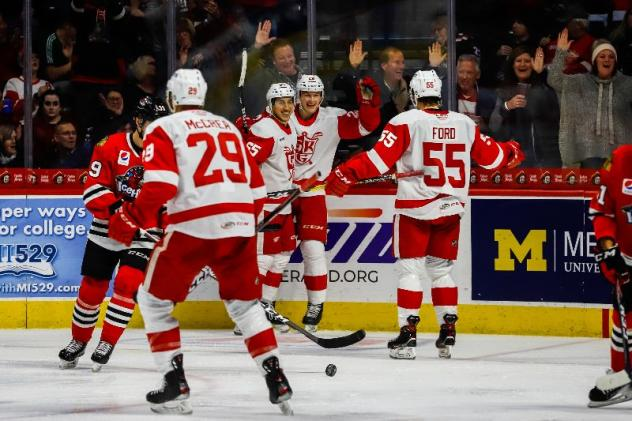 Grand Rapids Griffins react after a goal against the Rockford IceHogs