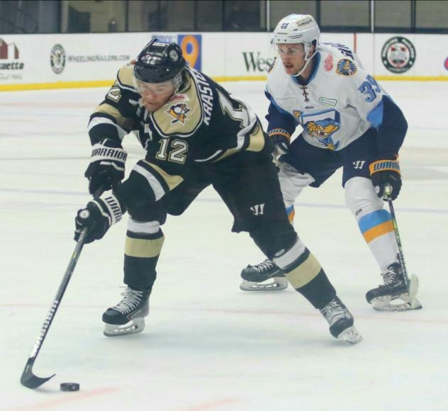 Wheeling Nailers forward Renars Krastenbergs vs. the Toledo Walleye
