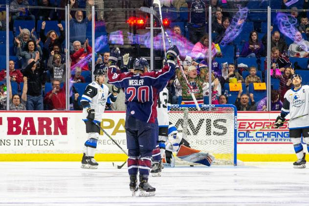 Josh Wesley of the Tulsa Oilers reacts after his goal against the Wichita Thunder