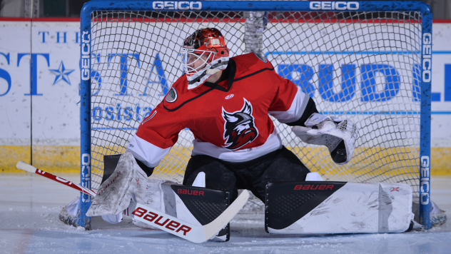Goaltender Evan Cormier with the Adirondack Thunder