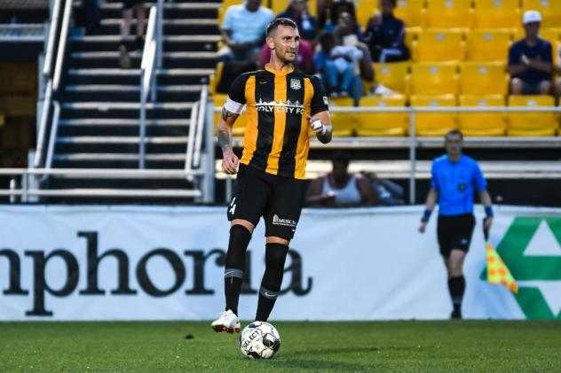 Defender Taylor Mueller with the Charleston Battery