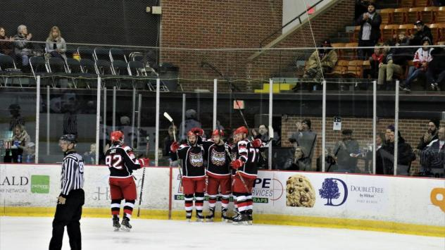Port Huron Prowlers huddle up after a goal