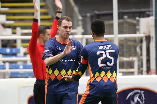 Tacoma Stars celebrate after a goal against the Mesquite Outlaws