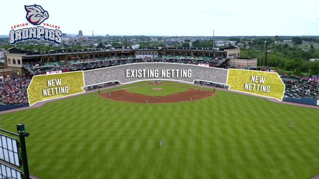 Lehigh Valley IronPigs netting extension at Coca-Cola Park
