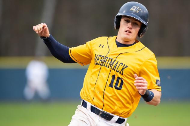 Outfielder/catcher Thomas Crowley with Merrimack College