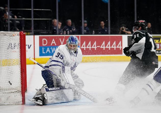Cam Darcy of the San Antonio Rampage scores against Toronto Marlies goaltender Joseph Woll
