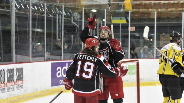 Austin Fetterly and the Port Huron Prowlers celebrate a goal