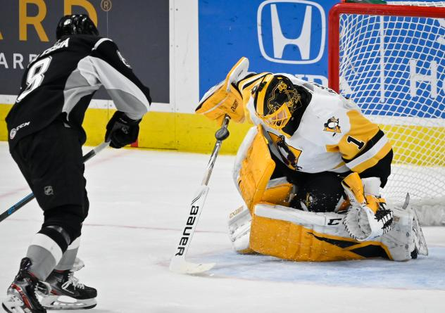 Joey LaLeggia of the San Antonio Rampage is stopped in the shootout by Wilkes-Barre/Scranton Penguins goaltender Casey DeSmith