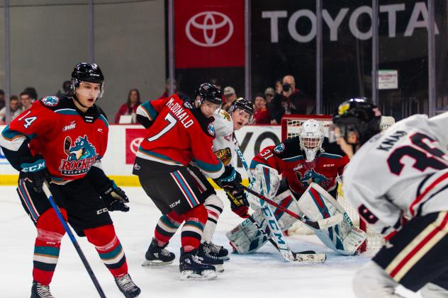 Kelowna Rockets defense sets up in front of goaltender Cole Schwebius