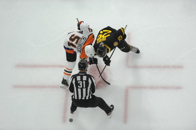 Kyle Criscuolo of the Lehigh Valley Phantoms faces off against the Providence Bruins
