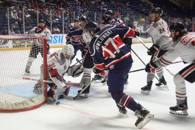 David Powlowski of the Macon Mayhem takes a shot against the Huntsville Havoc