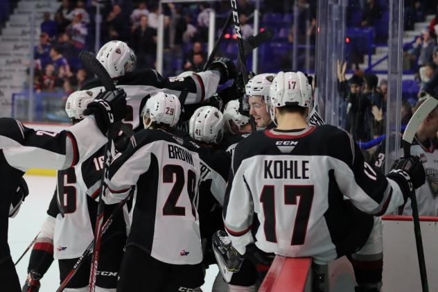 Vancouver Giants celebrate an overtime win