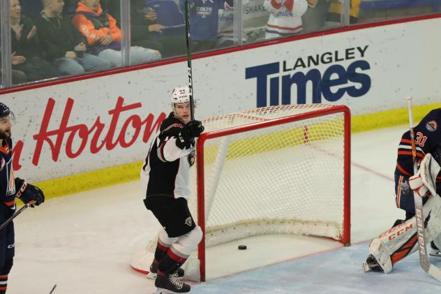 Vancouver Giants defenceman Bowen Byram reacts after a goal against the Kamloops Blazers