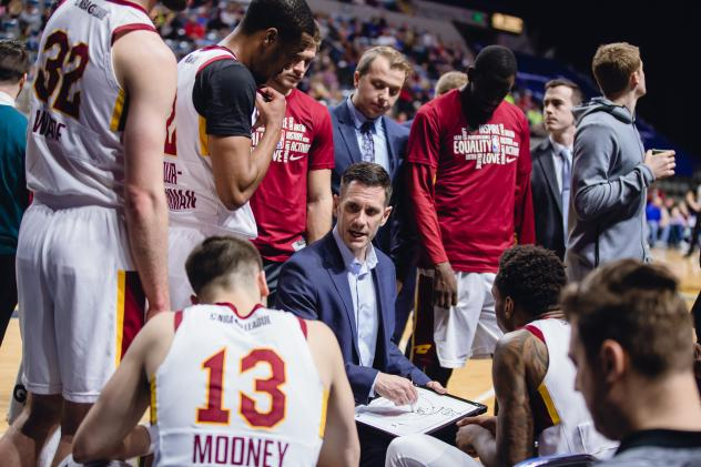 Canton Charge Coach Nate Reinking diagrams a play