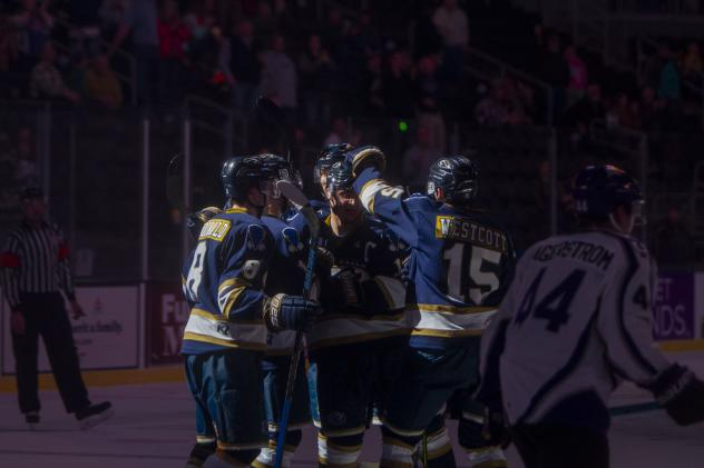 Sioux Falls Stampede react after a goal