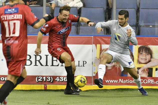 Ontario Fury forward Steve Merker (center) vs. the San Diego Sockers