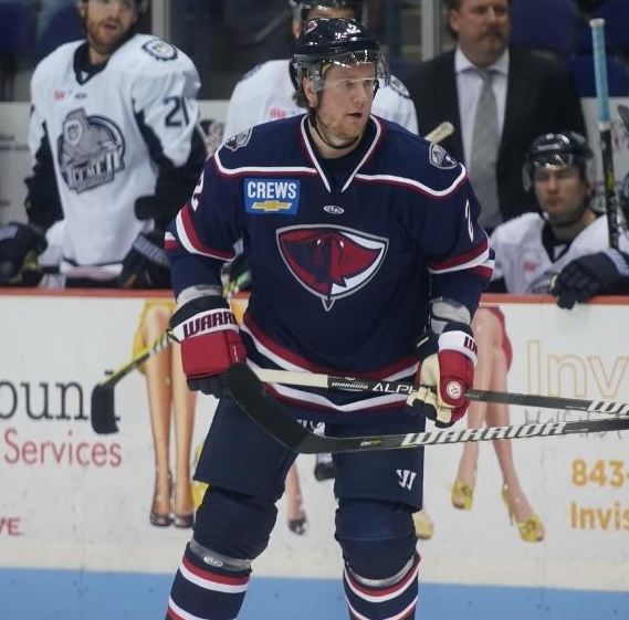 Defenseman Dylan Olsen with the South Carolina Stingrays
