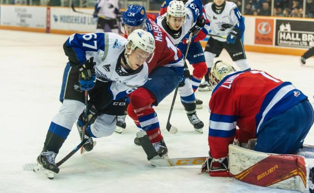 Saint John Sea Dogs left wing Dawson Stairs (left) vs. the Moncton Wildcats