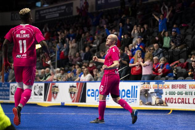 Adam James (right) and Kiel Williams of the Kansas City Comets react after a goal against the St. Louis Ambush