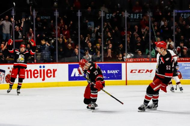 Grand Rapids Griffins react after a goal