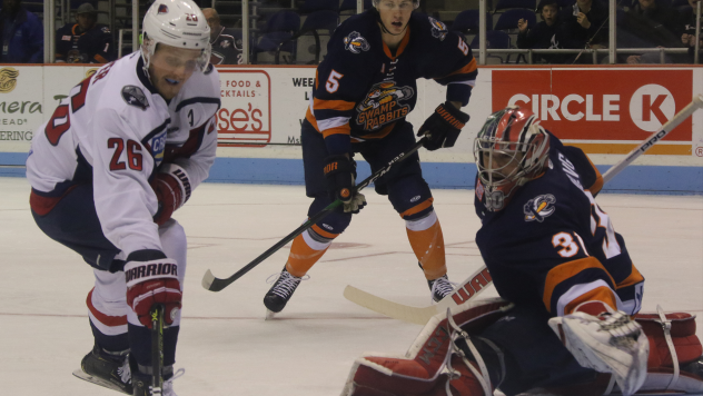 Greenville Swamp Rabbits goaltender Jeremy Helvig lunges for a puck against the South Carolina Stingrays