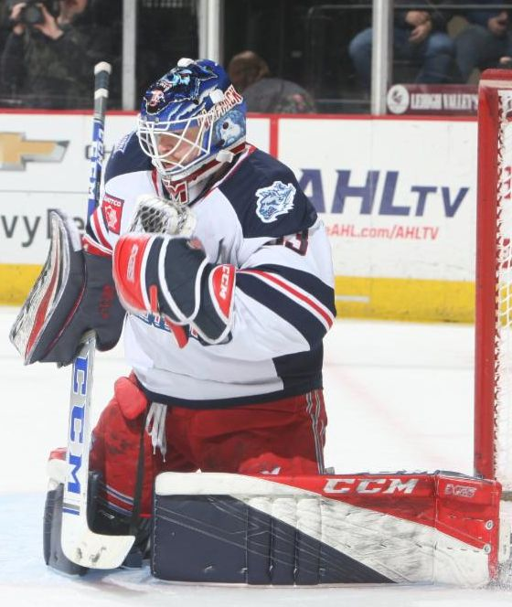 Goaltender Tom McCollum with the Hartford Wolf Pack