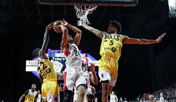 Windy City Bulls defend agains the Erie BayHawks