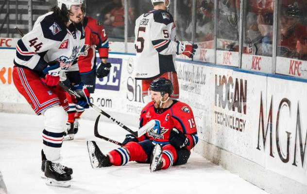 Springfield Thunderbirds right wing Paul Thompson reacts after a score vs. the Hartford Wolf Pack