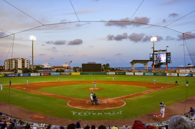 Sunset at Blue Wahoos Stadium, home of the Pensacola Blue Wahoos
