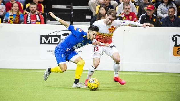 Jereme Raley of the Baltimore Blast (right) vs. the Rochester Lancers